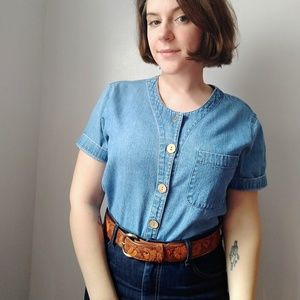 Vintage medium wash denim short sleeve top